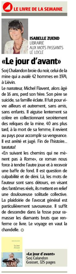 """LImpartial 15.09.17  Page13, S. Chalandon """"Le jour f'avant"""""""